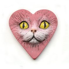 Pink Heart Love Cat Large Polymer Clay Cabochon by graphixoutpost, $9.50