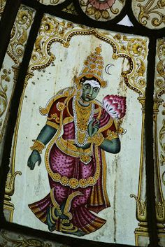 A Garden from Memoryland Indian Traditional Paintings, Indian Art Paintings, Old Paintings, Traditional Art, Mysore Painting, Tanjore Painting, Mural Painting, Silk Painting, Apocalypse Art