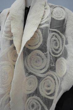 Nuno fieltro pañuelo seda mantón blanco del fieltro. A mano