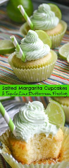 When it comes to Cupcakes these Salted Margarita Cupcakes with Tequila combined the best of both worlds, booze and baking! They're a great way to celebrate Cinco De Mayo, or an easy addition to any potluck or barbecue you want to infuse with a little fun & flavor. #tequila #lime #buttercream #margarita #cupcakes #dessert #buttercream #frosting