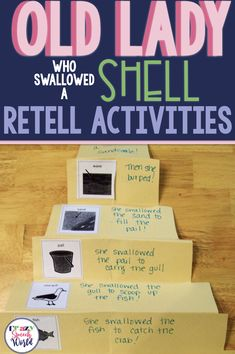 "Retell and sequencing activities  for ""There Was an Old Lady Who Swallowed a Shell"" #speechtherapy"