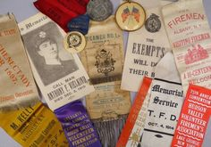 Antique-amp-Vintage-Lot-of-Firemen-039-s-Convention-Badges-Ribbons-amp-In-Memoriam