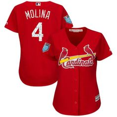 15df798f0e6 Yadier Molina St. Louis Cardinals Majestic Women s 2018 Spring Training  Cool Base Player Jersey Scarlet