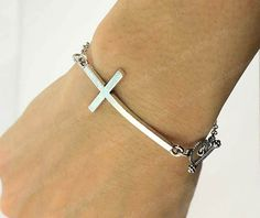 Dainty jewelry Cross bracelet Sideways cross bracelet Sideways cross pendant bracelet Bone shaped clasp God's blessing to send wedding  by APerfectGifts, $1.99