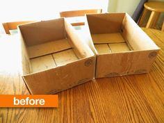 Before & After: Drab Cardboard Boxes Turned Chic Organizational Bins — Namely Original