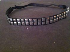 black elastic headband with silver stud trim by karpsa on Etsy, $6.00