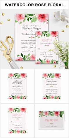 Botanical Washout Wedding Invitations