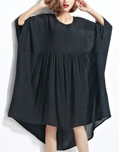 New black chiffon dresses plus size clothing linen maxi dress top quality high waist batwing sleeve clothing - Summer Dresses Linen Dresses, Chiffon Dresses, Casual Dresses, Fashion Vestidos, Fashion Dresses, Plus Size Dresses, Plus Size Outfits, Maxi Robes, Long Summer Dresses