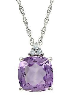 Sterling Silver Diamond & Amethyst Pendant Necklace - 0.03 ctw by Delmar on @HauteLook; chain