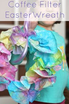 Coffee Filter Easter Wreath - Spring Craft for Kids - Happy Hooligans