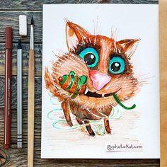 Drawing from instagram @photokotcom  #иллюстрация #cat #рисунок #drawing #illustration #sketch #кот #character #photokot_com #watercolor #акварель