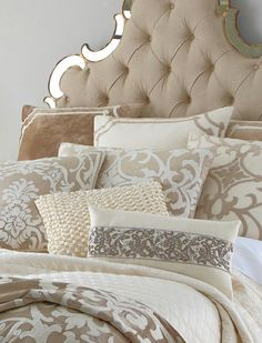 Lovely Neutrals, and that Mirror Trimmed Headboard....Oh My! :)