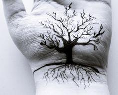 Wrist tattoo-Tree and roots