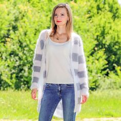 Light summer white grey sweater handmade striped hand knit cardigan SUPERTANYA #SuperTanya #BasicCoat