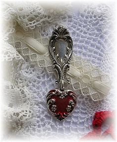 Antique Sterling Silver Spoon Pendant with Enamel Sterling Heart Charm