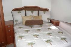 Stateroom from the Reel Quick, custom bedding made with Duralee, Kravet and Greenhouse fabrics, Crystal Coast Interiors