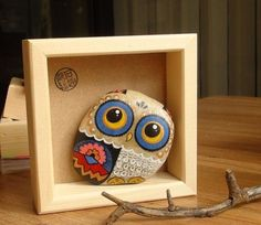 石趣部落原创手绘石头 创意礼物 蓝色猫头鹰-淘宝网