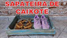 Sapateira feita com CAIXOTE #facavocemesmo Youtube, Diy Videos, Shoe Rack, Crates, Pallets, Diy, Ideas, Repurpose, Shoe Racks