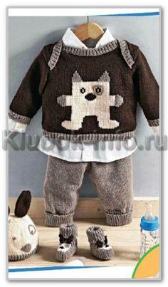 Вязание спицами. Комплект Котик для мальчика: пуловер, штанишки, шапочка и башмачки. Размеры: на 1-12 месяцев