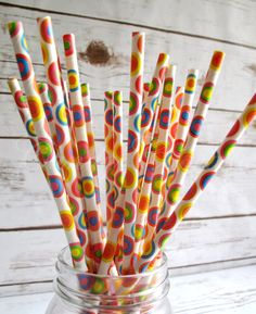 RAINBOW CIRCLES 25 Rainbow Circle Paper Straw by CandyCupcakeShop