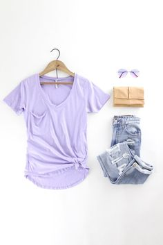 The Pocket Tee – The Rollin' J casual and cute spring and summer outfit style. Cute new lavender color for spring