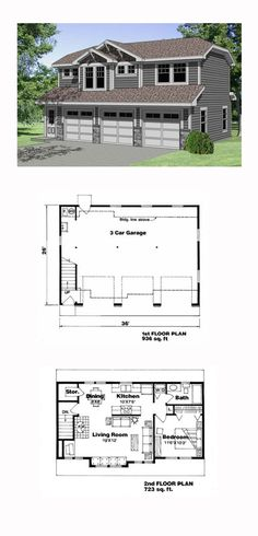 Garage Apartment Plan 94341 | Total Living Area: 723 sq. ft., 1 bedroom and 1 bathroom. #carriagehouse