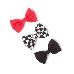 Solid and Heart Print Bow Hair Clips Set of 3 Buy1,get 1 Free *** Click image for more details.