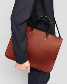 Briefcase Tote - Chestnut - Alfie Douglas - minimal leather bags and backpacks handmade in London, England Leather Purses, Leather Handbags, Minimalist Bag, Leather Bags Handmade, Leather Craft, Branded Bags, Leather Briefcase, Custom Bags, Leather Design