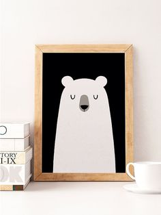 Bear print, Cute bear, Nursery wall decor, Cute art work, Bear poster, Kids bear…