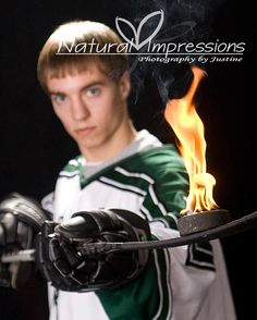 Flaming Hockey Photos - North Dakota Senior Pictures