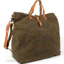 CAMPANI - Oversized Canvas Tote with Campomaggi Logo: Army Brown