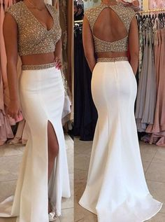 Prom Dresses Elegant, 2020 Unique White Mermaid/Trumpet V-Neck Sleeveless Backless Sweep Train Satin Prom Dresses, Mermaid prom dresses, two piece prom gowns, sequin prom dresses & you name it - our 2020 prom collection has everything you need! Split Prom Dresses, Fitted Prom Dresses, Prom Dresses 2017, Formal Dresses, Backless Dresses, Graduation Dresses, Dresses Dresses, Ball Dresses, Maxi Dresses