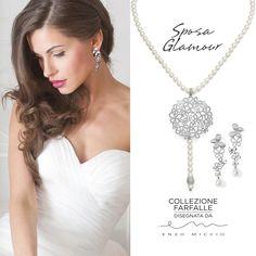 Perle e oro bianco per la parure per sposa della collezione farfalle di #Comete Gioielli