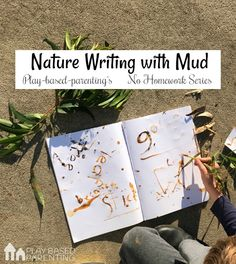 A twist on traditional homework. Nature writing with mud paint is an outdoor literacy activity that helps active visual learners with their spelling words. Forest School Activities, Eyfs Activities, Outdoor Activities For Kids, Nature Activities, Toddler Learning Activities, Outdoor Learning, Outdoor School, Outdoor Classroom, Nature Based Preschool