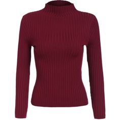 High Neck Slim Maroon Sweater (217.735 IDR) ❤ liked on Polyvore featuring tops, sweaters, red, slim fit sweater, pullover sweater, red pullover sweater, maroon sweater and 3/4 length sleeve tops