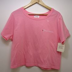 f1c56675c New Womens Champion Pink Embroidered Classic Crew Short Sleeve Crop Top Sz  Large