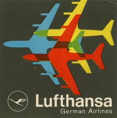 A variety of vintage baggage labels for Lufthansa airlines. The older designs are labelled Deutsche Lufthansa.