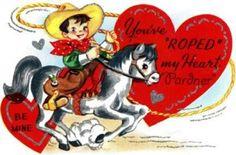 Vintage Horse and Cowboy Valentine Card