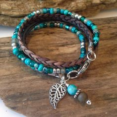 Wrap Bracelet, Beaded Boho Wrap, Leather Beaded Wrap, Turquoise Gray, Silver, 2X Wrap, Gypsy Wrap, Choose your Charm, Gift for Her