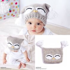 The I& A Hoot Knit Owl Hat by Yarnspirations is a knit baby hat full of character! It features many intermediate techniques to give it eye-catching appeal. Baby Hats Knitting, Crochet Baby Hats, Knitting For Kids, Baby Knitting Patterns, Knitted Owl, Knitted Hats, Owl Hat, Lion Brand Yarn, Baby Owls