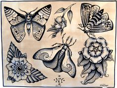 Moth tattoo flash sheet, flower illustration, black and white insects, limited edition, signed and numbered print by NikIllustrations on Etsy https://www.etsy.com/listing/212207914/moth-tattoo-flash-sheet-flower