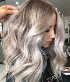 White Blonde Balayage With Honey Blonde Roots