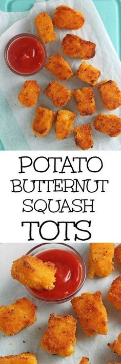 These delicious little tots are packed with potato and butternut squash and make the perfect finger food for weaning babies and toddlers! (potato snacks how to make) Baby Food Recipes, Snack Recipes, Cooking Recipes, Toddler Recipes, Potato Recipes, Finger Food Recipes, Appetizer Recipes, Chicken Recipes, Potato Snacks