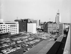 PARKING SPACES OF 1961: Good luck finding a parking space in downtown Los Angeles, even back in 1961! Here is the Civic Center mall's parking lot, located at Second and Grand streets in downtown L.A. It's always nice to see iconic L.A. City Hall in the background.
