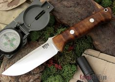 Bark River Knives: Bravo 1 - USMC - Dark Curly Maple