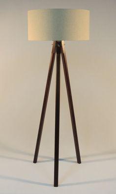 Handmade Tripod Floor lamp with wooden stand and by DyankoffShop Wooden Floor Lamps, Wooden Lamp, Vintage Lamps, Vintage Lighting, Handmade Chandelier, Make A Lamp, Tripod Lamp, Desk Lamp, Artisanal