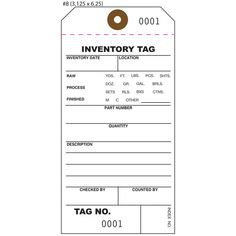 Inventory Tags, Numbered Tags, Part & Asset Tags and Property Tags ...