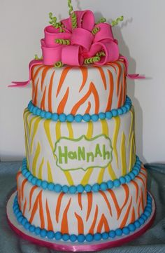 Zebra print yummy delicious delightful teenagers birthday cake