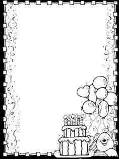 l Colouring Pages, Free Coloring, Coloring Pages For Kids, Coloring Books, Borders For Paper, Borders And Frames, Happy Birthday Coloring Pages, Dj Inkers, Notebook Cover Design