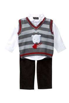 OK! Kids Apparel Deke Woven Button Shirt, Reindeer Sweater Vest & Corduroy Pant Set (Toddler Boys)